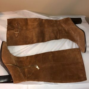 Micheal Kors tan suede heeled boots! Size 8!